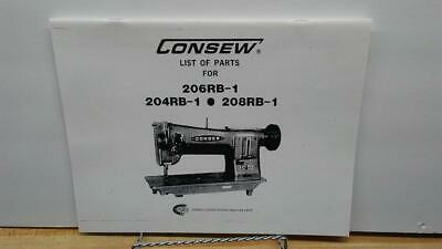 Consew 204RB-1  206RB-1 208RB-1 Sewing Machine Parts Book Manual