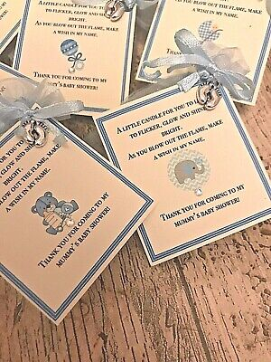 *Baby Shower Favour Candle* 10 pack Gift Cute Baby Boy Girl Blue Elephant Teddy