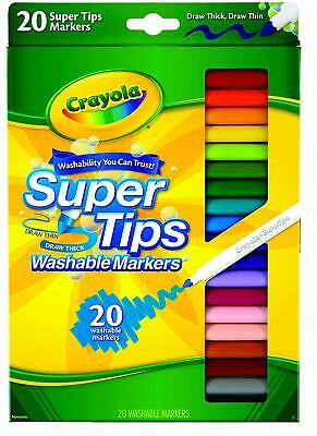 Crayola 20 SuperTips Washable Markers Non Toxic Colouring Pens School Classroom