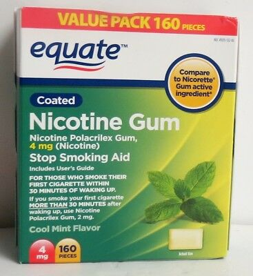 Equate Nicotine Gum Stop Smoking Aid 4mg 160 Count Cool Mint Flavor 02/2020