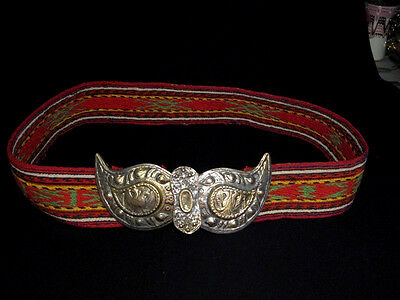 ORIGINAL ANTIQUE HANDMADE WOOL BELT w/ BRASS BUCKLE CLASP SET!!!