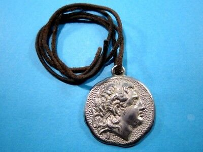 Beautiful Vintage Medallion Pendant Depicting Alexander The Great Portrait!