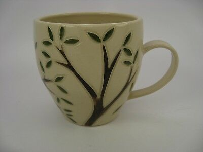 Pottery Mug Studio Pottery Handmade Signed Trees Green Leaves Branches