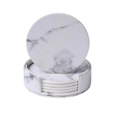 6pcs PU Leather Coasters Heat Insulation Marble Round Cup Mats for Home Decor