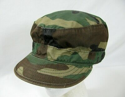 US Army Military Woodland Camouflage Pattern Class 1 Cap Hat Sz 7 1/4 Ear Flap