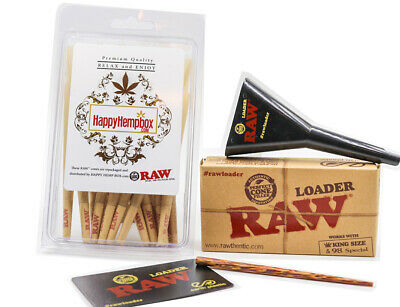 RAW Classic King Size Pre-Rolled Cones With Filter (30 Pack and Cone Loader)