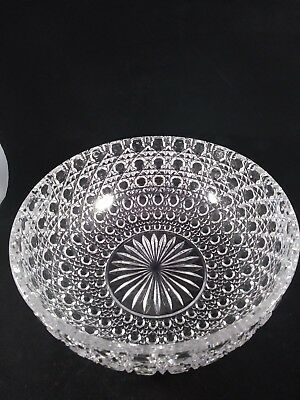Large Vintage Heavy Hand Cut Crystal Bowl