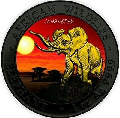 2016 1 OZ Silver ELEPHANT AT SUNSET Ruthenium Coin, 24K GOLD GILDED.