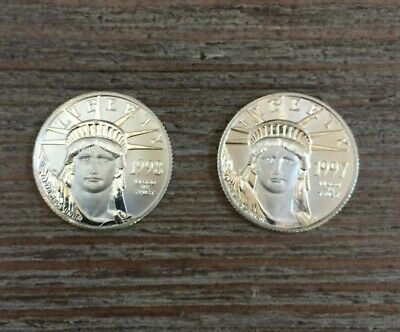 2 Platinum $25 American Eagle 1/4 oz Coins -1997/8 US American Platinum Eagle