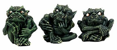 Toad Troll Gargoyle Figurine Set of 3 Small Guilty Shy Sinister Devils Statue