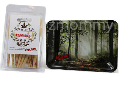 Raw King Size Cones 30 count + Raw Mini Tray Forest bundle
