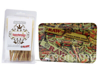 Raw King Size Cones 30 count + Raw Mini Tray Mixed  Design Tray bundle