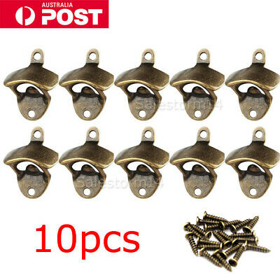 10x Rustic Style Cast Iron Wall Mounted Bottle Opener Cave Bar Beer Tool Top