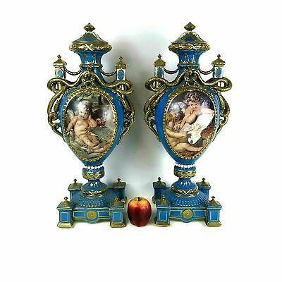 Large Ornate Pair of French Porcelain Urns Blue Gold Putti Snake Decoration
