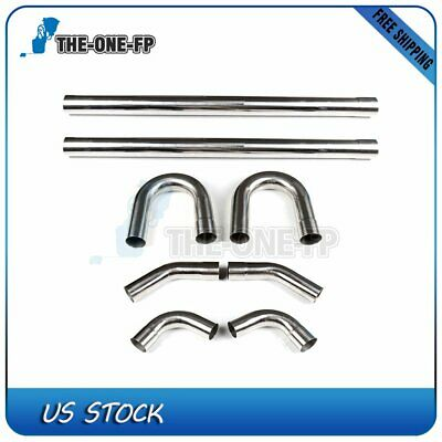 """3"""" 76mm T304 High-Performance Stainless Steel Exhaust Pipe Straight & Bend Kit"""