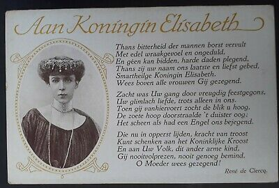 "SCARCE c.1910 Belgium Postcard ""To Queen Elisabeth "" Unused"