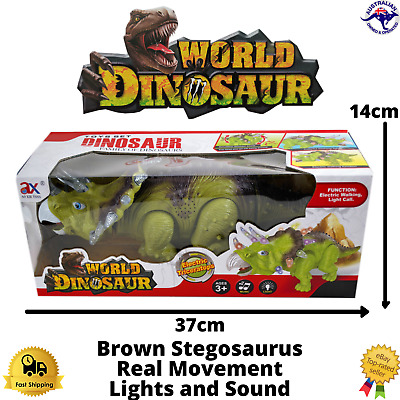 Dinosaur Toy Triceratops Walking Kids Figure Green Lights Sounds Real Movement