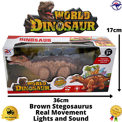 Dinosaur Toy Kids Walking Stegosaurus Figure Brown Lights Sounds Real Movement