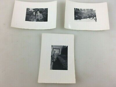 Vintage Photographs - B & W - 3 Tiny Photos - Street Scene, Man On Monument ++