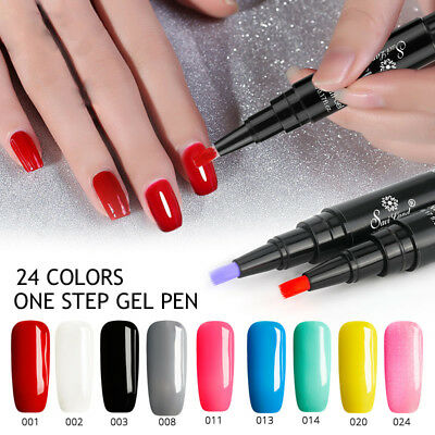 3 In 1 Gel Nail Varnish Pen Nail Gel Polish Hybrid 24 Colors Easy To Use UV Gel
