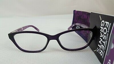 d26904a3a37 Foster Grant Women s Reading Glasses w Case Luna Purple Strength +1.25 or  +2.50