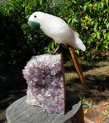 EXOTIC GEMSTONE BIRD CARVING w AMETHYST CLUSTER STAND. BRAZIL - HAND CARVED