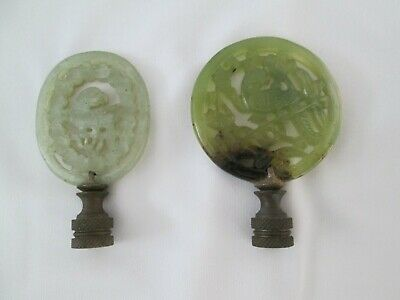 2 Rare Antique Chinese Nephrite Hetian Jade Pendants