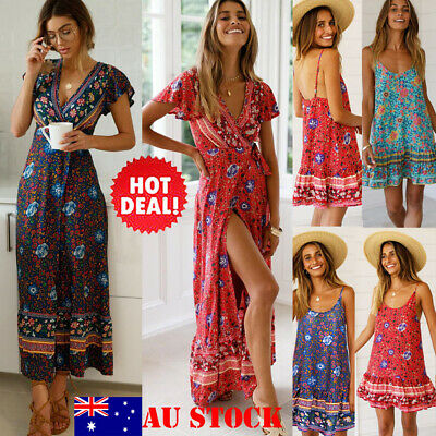 AU Women Boho Printed Dress Deep V Neck Summer Beach Split Maxi Long Short Dress