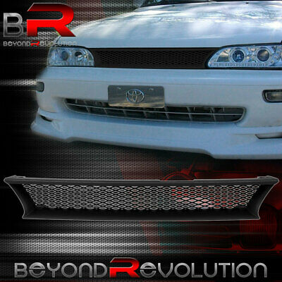 For 93-97 Corolla Ae101 Black Honey Comb Mesh Hood Bumper Front Grille Grill Abs