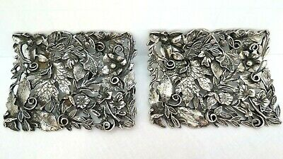 Vintage Pair of Musi Shoe Clips High Relief Heavy Silver Work Beautiful 2 1/4""