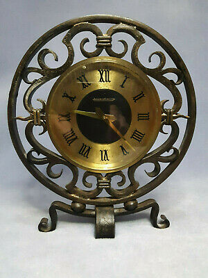 Jaeger LeCoultre Wrought Iron 8 Day Desk Clock Designed by Gilbert Poillerat