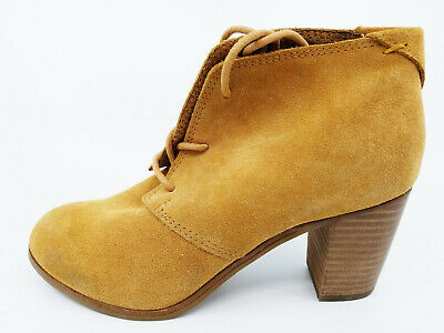 f8e7fbd611f TOMS WOMENS LUNATA Lace Up Bootie Shoes Boots Wheat Suede Size 6 ...