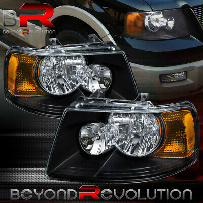 Black Headlights For 2003 2006 Ford Expedition Headlamps 03 06 Left Right Pair