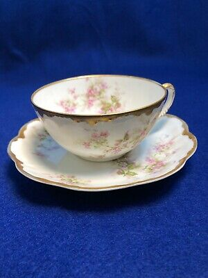 Antique Haviland Limoges France cup and saucer with pink roses & gold trim