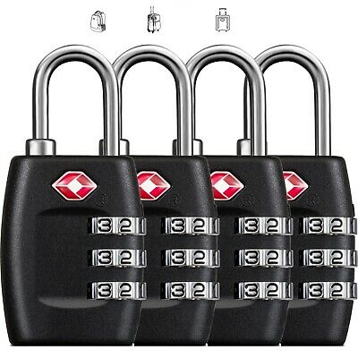 4X TSA 3 Digit Combination Travel Suitcase Luggage Bag Lock Padlock Reset Lock