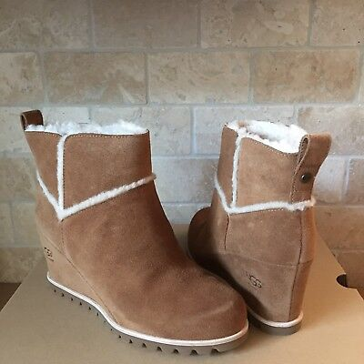 3a41631e1787 Ugg Marte Chestnut Suede Waterproof Wedge Ankle Boots Booties Size 8 Womens