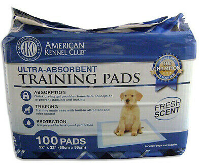AKC Training Pad 100 Pack Fresh Scent - Dog Care Potty Train Antibacterial Pet