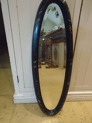 Antique Oval Mirror - Painted Design On Wood Frame