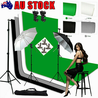 "Photo Speedlight Flash Lighting 33"" Umbrella Light Stand 4X Backdrops Screen KIT"
