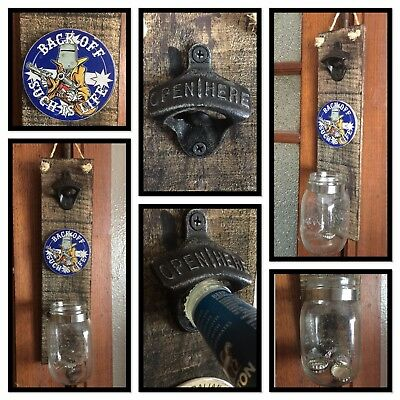 CALTEX Wall Mounted RUSTIC LOOK BOTTLE OPENER - Man Cave BBQ Beer Sign Glass