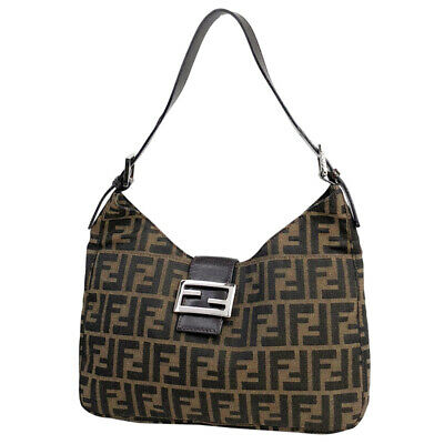 FENDI ZUCCA CANVAS wool with Leather Trimmed and Gold Logo FF Hobo ... 23a02858ff44e