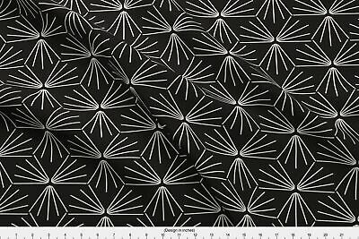 Tile Monochrome Modern Line Black White Holli Fabric Printed by Spoonflower BTY
