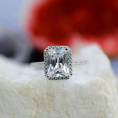 2.45 Ct Emerald Cut 14K Real White Gold Halo Solitaire Engagement Wedding Ring
