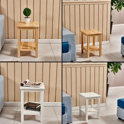 Side End Table Small Table Solid Wood Living Room Lamp Table Magazine Rack