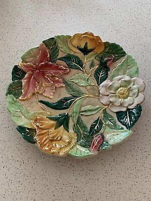Vintage Italian Decorative Plate Floral With Gold Detail