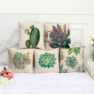 Retro Cactus Succulent Cotton Linen Plants Pillow Case Throw Cushion Cover Decor