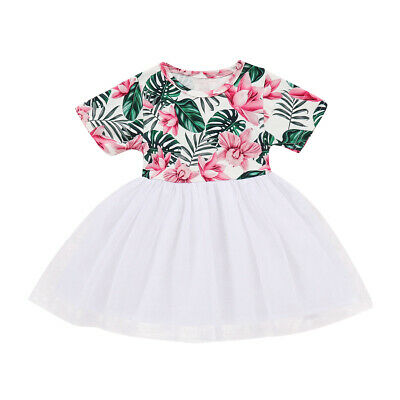 Kid Baby Girl Short Sleeve Princess Dress Outfit Party Sundress Summer Clothes