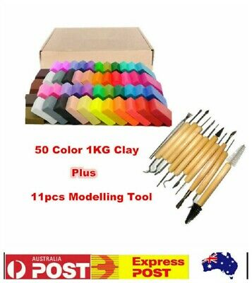 1KG 50 Colors Soft Polymer Clay Block Craft+11pcs Modelling Tool Kit Kids Gift
