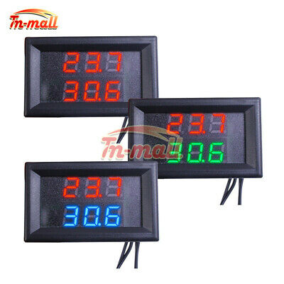 Waterproof Thermometer LED Display Dual Digital Temperature Sensor NTC Probe