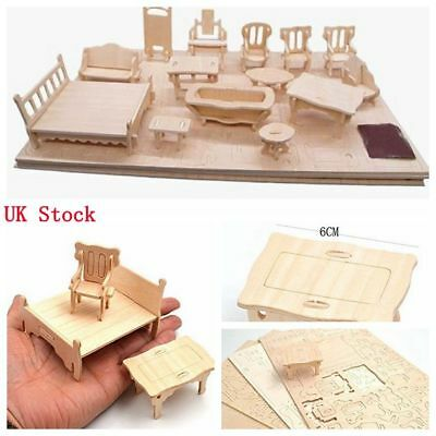 34Pcs/Set Vintage Wooden Miniature Furniture Dolls House Kids DIY Toys Gift Play